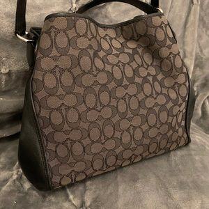 Coach Bags - Coach blk signature canvas leather hobo